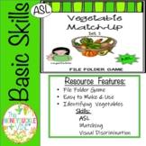 ASL Vegetable File Folder Game