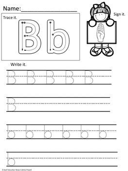 ASL Version: ABC's Handwriting Practice Pages