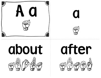 American Sign Language (ASL) ~Word Wall Cards