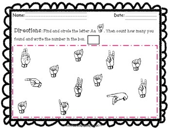 ASL Writing-Vocabulary-Picture Match-Letter Identification & Counting Work