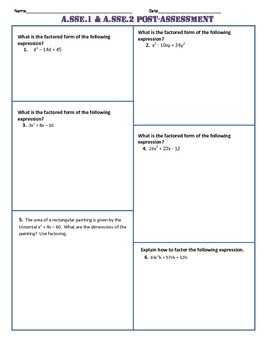 A.SSE.1 and 2 Post Assessment/Test Algebra 1 Common Core