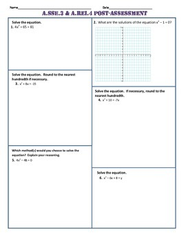 A.SSE.3 and A.REI.4 Pre AND Post Assessment/Test Algebra 1 Common Core
