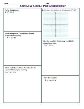 A.SSE.3 and A.REI.4 Pre Assessment/Test Algebra 1 Common Core