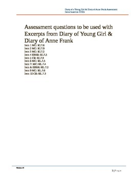 ASSESSMENT ITEMS FOR Diary of a Young Girl and Diary of An