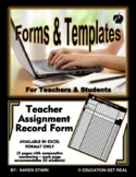 "ASSIGNMENT FORM TEMPLATE (Excel) ""Form for Recording 25 Grades for 115 Students"""