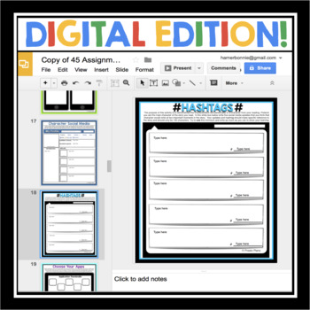 DIGITAL PAPERLESS ASSIGNMENTS FOR ANY READING - GOOGLE DRIVE OR GOOGLE CLASSROOM