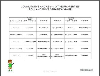 ASSOCIATIVE AND COMMUTATIVE  Roll and Move Strategy Game Grade 4 VIRGINIA SOL