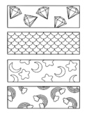 ASSORTED COLORING BOOKMARKS, MOON STARS RAINBOWS FOOD FLOW