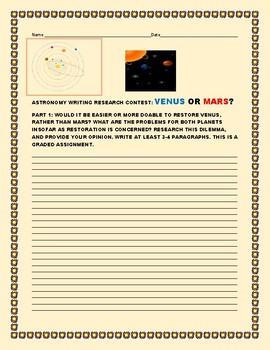 ASTRONOMY: CONTEST: VENUS V. MARS: RESTORATION