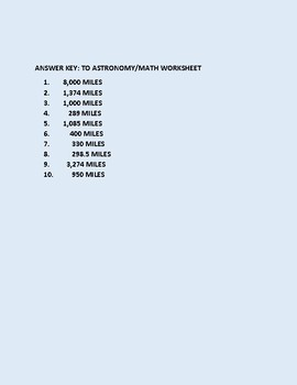 ASTRONOMY MATH WORKSHEET GRADES 3-6
