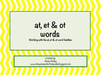 AT, ET & OT Word Study Sort and Activities