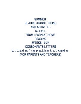 READING SUMMER ACTIVITIES: (WEEKS 19-27)