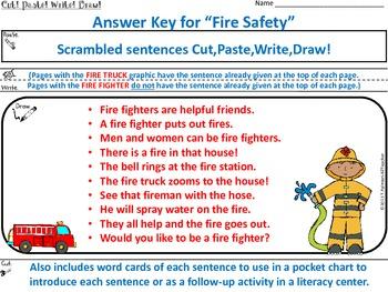 FIRE SAFETY ~ Cut, Paste, Write, Draw! Scrambled Sentences