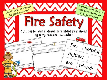 FIRE SAFETY ~ Cut, Paste, Write, Draw! Scrambled Sentences