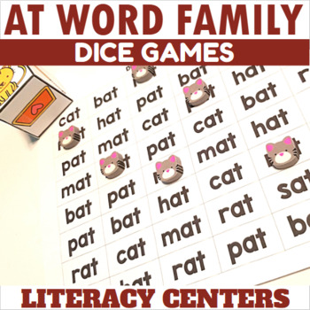 AT Word Family Dice Games for Centers or Small Groups