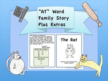 """""""AT"""" Word Family Story PLUS Memory Game, Flip Book, and Fl"""