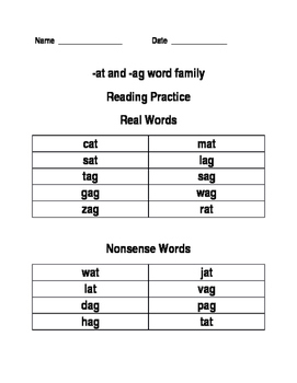 AT and AG Reading Practice