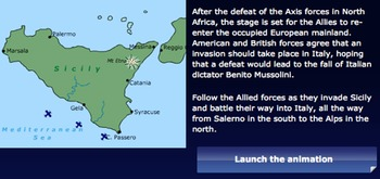 AT4S (4) - Map Activity - WWII (Allies Invade Sicily) - US History & Geography
