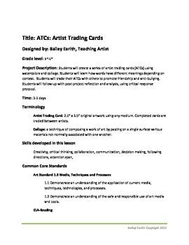 ATCs: Artist Trading Cards: Common Core Reading & Antibullying