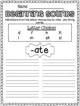 ATE Word Family Packet for Long Vowels Silent E