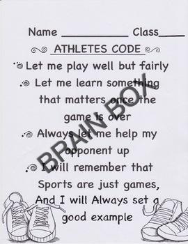ATHLETES CODE- Physical Education