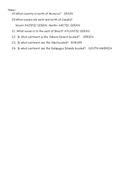 ATLAS SCAVENGER HUNT, WITH ANSWER KEY, GEOGRAPHY ACTIVITIES