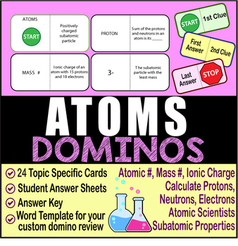 ATOMS ~DOMINO REVIEW~ 24 Cards + Answer Sheets + Key