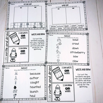 AU AW- Diphthong Activities and Printables