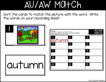 AU/AW Diphthongs Literacy Center Activity