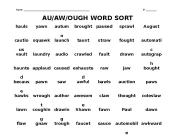 AU/AW/OUGH WORD SORT