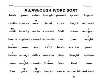 AU/AW/OUGH WORD SORT