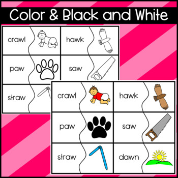 Phonics: AU AW OW OU Matching Puzzles, Mazes, Worksheets, Cloze