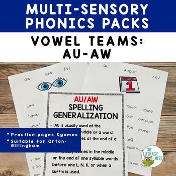 AU AW Word Work and Multisensory Phonics Activities Orton-Gillingham