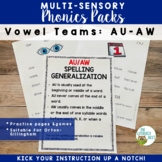Orton-Gillingham Phonics AU AW Word Work and Multisensory Activities