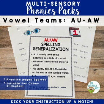AU AW Word Work and Multisensory Phonics Activities Orton-