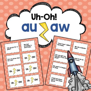 AU/AW Words Reading Fluency Game Uh-Oh!