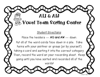 AU and AW Vowel Team Sorting Center and Recording Sheet