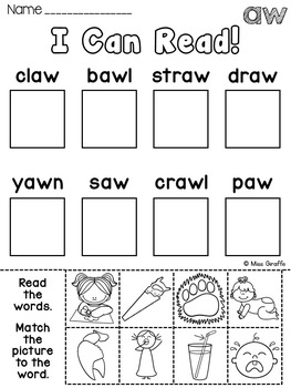 AU AW Worksheets & Activities {NO PREP!}
