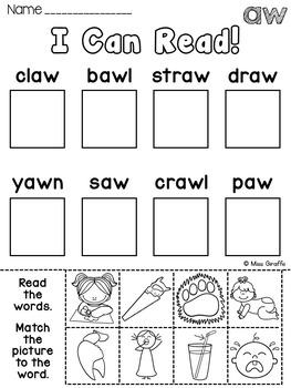 Au And Aw Worksheets Activities No Prep Vowel Teams Worksheets Pairs