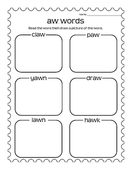 AU and AW Worksheets- Sort and Read/Draw
