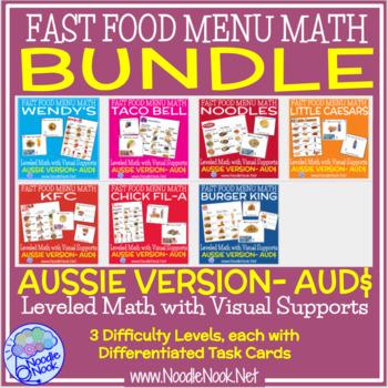 AUD Fast Food Menu Math with the Aussie Dollar- Money Math Center