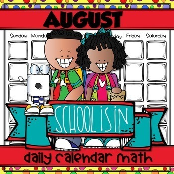 AUGUST Daily Calendar Math for Kinders