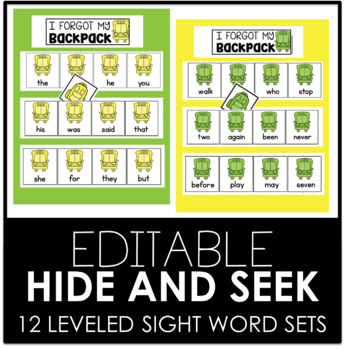 AUGUST EDITABLE Hide and Seek-12 Differentiated Sight Word Sets