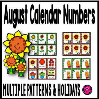 August Illustrated Calendar Numbers with Sunflowers and Pencils