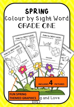 AUS-SPRING Themed: Colour by DOLCH Sight Word (GRADE 1) Literacy Centre Activity
