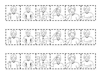 AUSLAN - 5 Little Monkeys cloze task