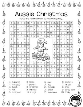 AUSSIE CHRISTMAS 20  word search sleuth