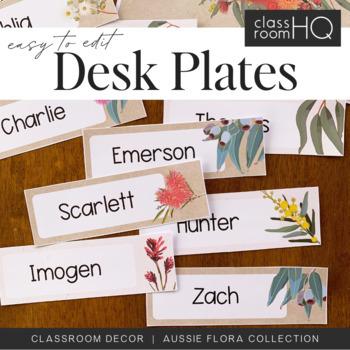 AUSSIE FLORA Editable Desk Plates