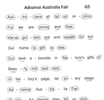 AUSTRALIA NATIONAL ANTHEM Easy Tone Chimes & Bells ADVANCE AUSTRALIA FAIR