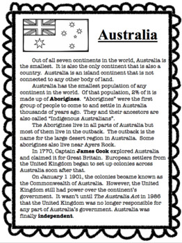 AUSTRALIA- States, Physical Features-TN 3rd Grade Standards